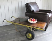 """Distressed Industrial Cart - Hand Truck """"Industrial Chic Coffee Table - Side Table"""" Made of Wood and Steel"""