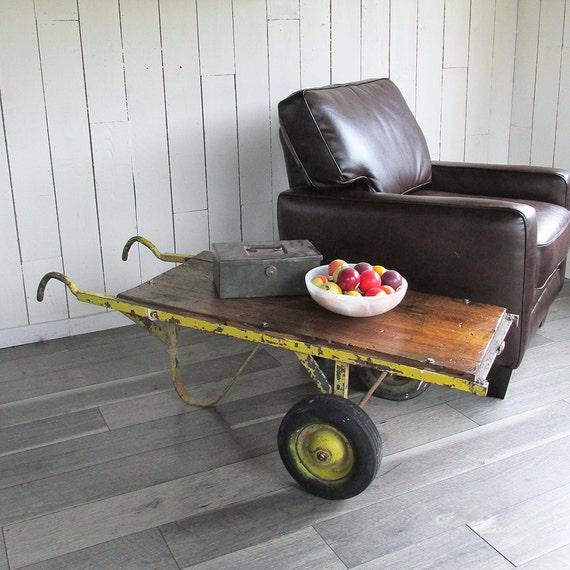 Industrial Wood Coffee Table Distressed Designs: Distressed Industrial Cart Hand Truck Industrial Chic