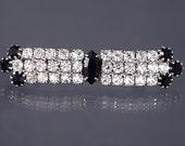 ART DECO Revival BROOCH Rhinestone Wedding Jewelry Black White Pin Broach Gift