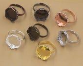 20 Crown Edged 15mm Round Bezel Ring Brass Antique Bronze/ Antique Copper/ Silver/ Gold/ Rose Gold/ White Gold/ Gun-Metal Plated - Z7166