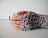 Light purple fingerless gloves, crocheted, handmade, ready to ship