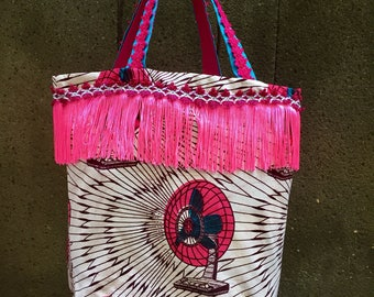 African fabric tote, textile boho purse, embellished fringe bag cotton