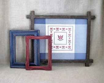 Vintage Cross Stitch Americana Wall Gallery / Vintage Cross Stitch in Rustic Frame with Red & Blue Open Frames / Cross Stitch Tulips