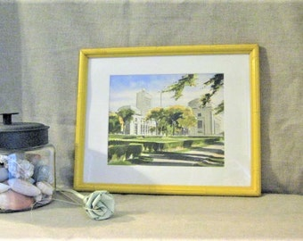 Vintage Matted Framed Print / Gray's Watercolors / Peter Sawyer / Vintage Watercolor Print MIT Campus