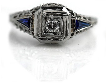 Vintage Sapphire Engagement Ring .40ctw Old European Cut Diamond Filigree Wedding Ring Sapphire 18 Kt  Antique Engagement Ring Size 5!