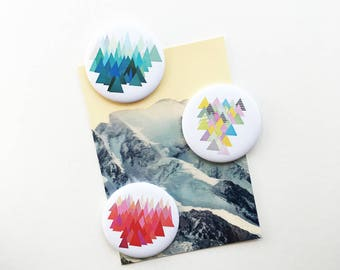 Fridge Magnet Set, Geometric Fridge Magnets - Abstract Mountains
