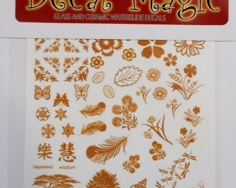 """Mini 22k Gold Decals """"Sampler #2"""" for glass fusing - Flowers Trees Snowflakes"""
