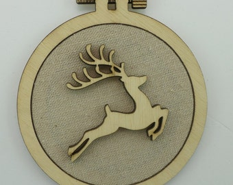 Christmas Reindeer - Laser cut embroidery hoop with quality textile