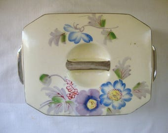 VINTAGE MIKORI Ware 2 Piece Covered  Porcelain China Box Made in Japan Dresser Box Jewelry Box Hand Painted Art Box Made in Japan