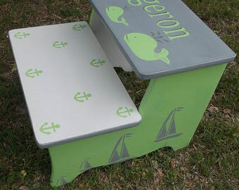 Lime Green,Grey, Whales, Anchors  Sailboats, Childs Kids, Step stools, Bathroom Stool,  personalized, Pet stairs, Bedroom stool,  Grey Gray