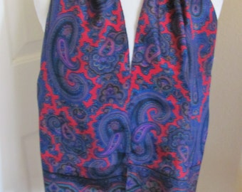 """Liz Claiborne // Lovely Blue Red Paisley Silk Scarf // 11"""" x 52"""" Long // Best of the Best"""