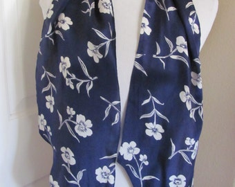"Lovely Dark Blue Floral Silk  Scarf // 9"" x 56"" Long"