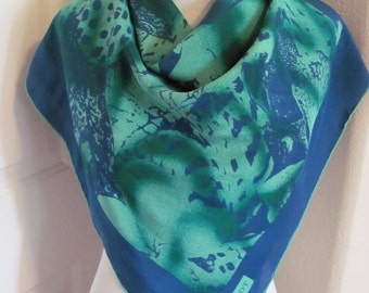 "Wow! Tobia Scarf  // Beautiful Blue Green Silk Scarf // 34"" Inch 90cm Square // Best of the Best"
