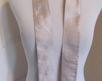 "Beige Silvery Silk 2 Layer Skinny Necktie Sash Scarf  - 2"" x 44"" Long"