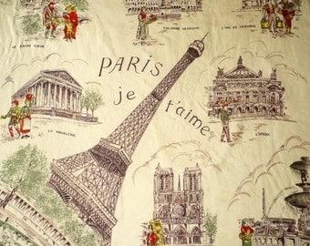 Vintage Paris Eiffel Tower Novelty Printed Large Souvenir Square Scarf -As Is