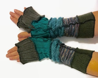 Upcycled Fingerless Gloves  Teal Brown Green Armwarmers Recycled Wrist warmers Stripe Knit Fingerless Mittens fashion accessories