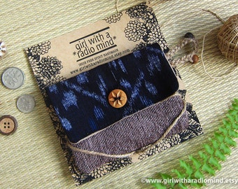 Japanese Purse or Crossbody Bag - Indigo Ikat Kasuri Dark Denim  Blue Small Card Wallet