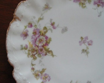 ON SALE Vintage Plate Limoges France Ornate Purple Lilac Florals Serving Collectible Home Decor Display
