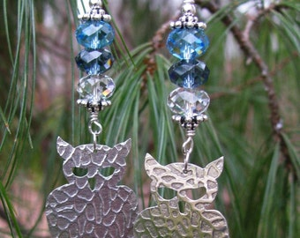 Textured Sterling Owl Earrings  with Crystal Accents