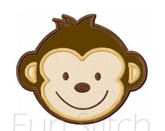 monkey applique machine embroidery design