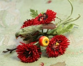 Vintage tiny bird flower pin rose red flowers corsage lace millinery flower dolls hat cloche bonnet