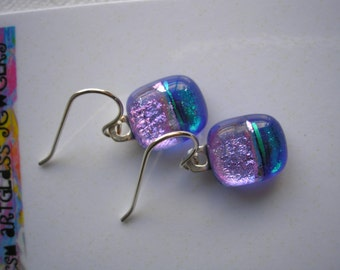 Earrings Petite Dichroic Glass Blue and Lilac Pink Two Toned Fused Glass Jewelry Small Earrings Lightweight Sterling Earwires Dangles Dichro
