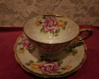 Tea Cup and Saucer from Japan 1950's with Pink and Yellow Roses