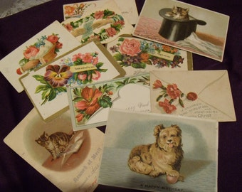 Seven Vintage Victorian Calling Cards with three Animal Cards