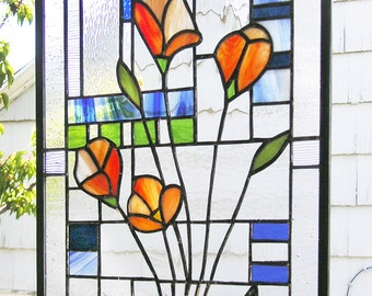 "California Poppies Over Geometric 2-- Stained Glass panel 12"" x 17.5"""