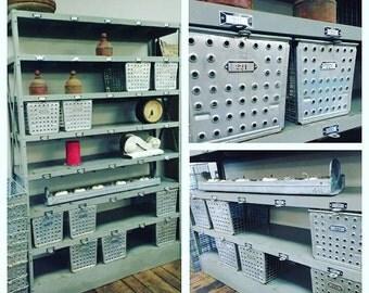 Lockers; Industrial Locker Unit with Locker Baskets; Vintage Industrial; Storage; Organization; Swimming Pool Locker; Gym Locker