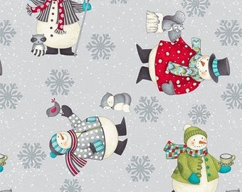 All Bundled Up by Debbie Mumm for Wilmington Snowman Fabric