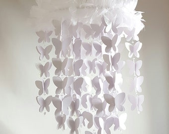 Extra Long White Sparkle Butterfly Baby Mobile