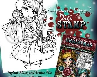 PRINTABLE Digi Stamp Holiday Shopping Girl Whimsy Girls Christmas Coloring Page Fun Fantasy Art Hannah Lynn
