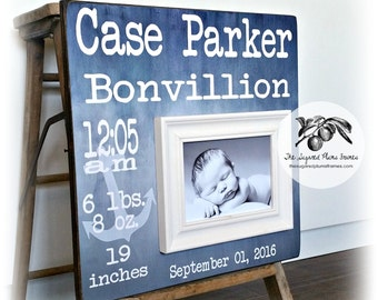 Nautical Nursery, Nautical Wall Decor, Nautical Baby Shower, Anchor, Birth Stats, Picture Frame, Boy Baby Gift, Girl Baby Gift 16x16