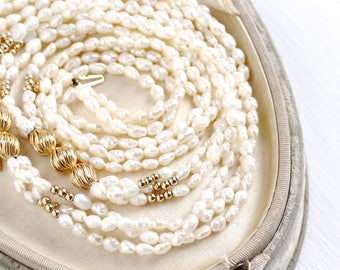 Vintage Genuine Cultured Rice Pearl Triple Strand Necklace - 1980s Off White Layered Gems 14k Yellow Gold Clasp Bridal Wedding Fine Jewelry