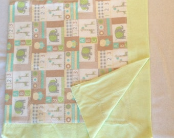 Zoo Friends and Stripes Flannel Baby Blanket