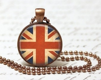"Grunge UK Pendant Necklace 1"" Glass Round Dome Jewelry Charm"