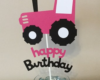 Pink tractor happy birthday Smash Cake topper farm party pink