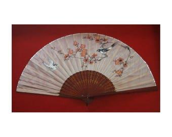 Chinese Silk Fan Shadow Box Frame Hand Painted  Bird Asian Art