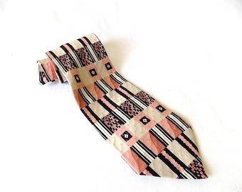 Vintage Daniel de Fasson Necktie Designers in Motion Miami in Pink, Beige & Black for Spring/Summer Hand Made Silk