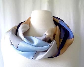 Oscar de la Renta for Accessory Street Silk Scarf Long with Blue & Greige Color Blocks