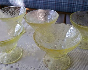 Florentine Depression Sherbet Hazel Atlas yellow glass