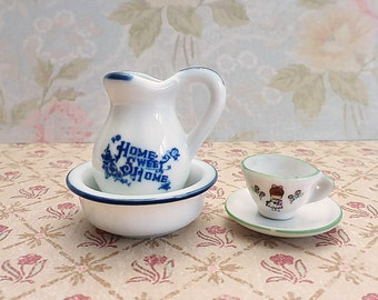 China Miniatures, Pitcher and Bowl, Tea Cup and Saucer