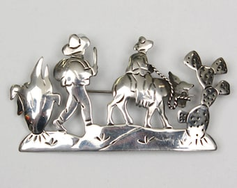 vintage 1940s Los Ballesteros brooch • taxco sterling silver • highly detailed figural brooch