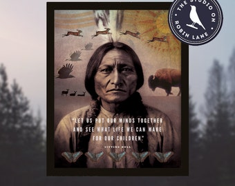 """Sitting Bull – Let us put our minds together [No.1] Typographic, Nature, West, 11""""wX14""""h Giclee Print, Decor & Housewares Wall decor"""