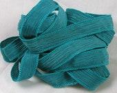 Ribbon, Hand Dyed Silk Ribbon - Crinkle Silk, Jewelry Bracelet Fairy Ribbon - Quintessence - Teal Ribbon