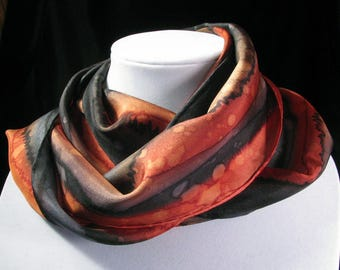 Scarf, Silk Scarf, Hand Painted Silk Scarf, Abstract, Silk Wrap, Quintess, Black & Red Rain