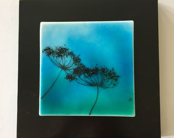 Fused glass, handmade fused glass, fused glass wall panel,home decor,queen Anne's lace,glass,handmade fused glass panel fused glass wall art