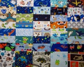 40 Assorted 5 inch Baby Boy Flannel Squares Destash Baby Fabric Scraps