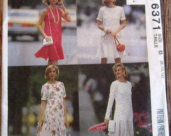Vintage 1990s Misses Semi-fitted Dress, French Darts, Circular Flounce and Sleeve Variations Sizes 8 10 12 McCalls Pattern 6371 UNCUT